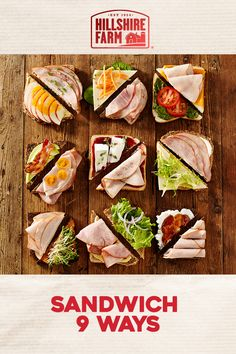 The sandwich possibilities are endless with Hillshire Farm® deli meat. Let your creativitiy out in the kitchen by mixing and matching black forest ham, honey roasted turkey breast, or chipotle chicken breast with your favorite toppings. Healthy Snacks, Healthy Eating, Healthy Recipes, Snacks Saludables, Good Food, Yummy Food, Wrap Sandwiches, Gourmet Sandwiches, Sandwich Recipes