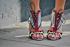 Quirky lace up pumps.