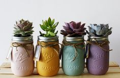 DIY : Pots, vase, plantes succulentes, coloris pastel // Pretty Pastel Succulents in Painted Mason Jars with Twine Green Mason Jars, Gold Mason Jars, Painted Mason Jars, Mason Jar Succulents, Mason Jar Planter, Succulent Planters, Pot Mason Diy, Mason Jar Crafts, Diy Luminaire
