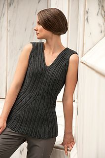 Serpentine ribs elevate Merge beyond the everyday vest; sculpted in Merino Alpaca, this form fitting piece contours and flatters. The unique 12-ply construction gives this yarn its unique stitch definition, and the fine Merino and Baby Alpaca content makes a comfortable, wearable fabric. Knit from the bottom up, a simple series of increases and decreases give movement and define the shape of Merge.