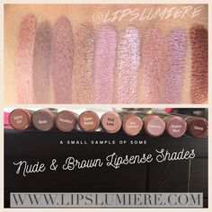 Shades of nude and brown LipSense. Long lasting, non drying, waterproof, smudgeproof make up