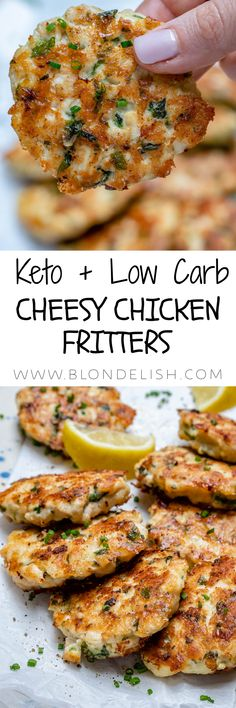 Keto low carb cheesy chicken fritters Keto, Low Carb, Chicken, Recipes, Food, Low Carb Recipes, Eten, Hoods, Meals