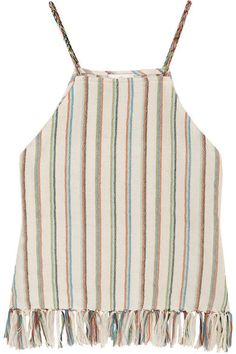 Miguelina - Paloma Fringed Striped Cotton-blend Top - Cream