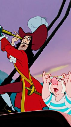 Captain Hook and Smee Disney Villain Costumes, Disney Villains, Disney Movies, Disney Pixar, Mickey Mouse Wallpaper, Disney Wallpaper, Cartoon Wallpaper, Peter Pan And Tinkerbell, Peter Pan Disney