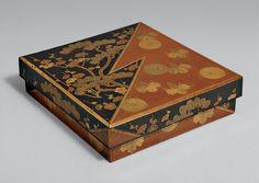 Burke Collection   Writing box (suzuribako, 硯箱) with pines, plum, chrysanthemums, and paulownia