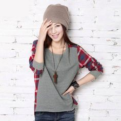 Plus size women fashion pullovers long-sleeve plaid pullover girl sweater fashion tops for women S-XXL B16E