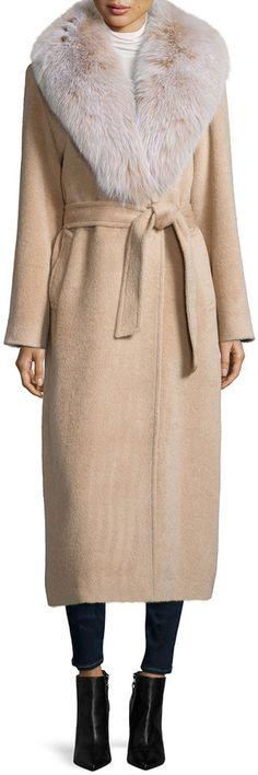 Sofia Cashmere Long Alpaca-Blend Wrap Coat W/ Fox Fur Collar