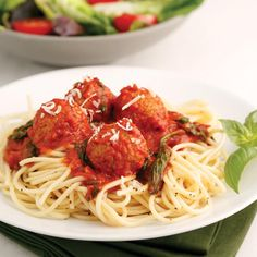 Mona's Family Favorites: It's so great when you can bring a fantastic vacation memory home with you by preparing a traditional weeknight meal. And even better, this meal is delicious, simple to make, and has a healthy twist! We combine my spinach-packed Tuscan Tomato Sauce with the meatballs for a great blend of protein and