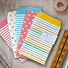 Letter set with Pullitab envelope + writing sheets and label - Gelato Stripes