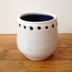 Little Dot White Ceramic Cup pottery mug with polka by TheLuluBird, $18.00