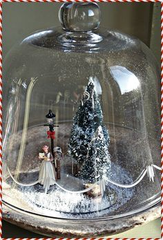 Christmas Cloche, seasonal decorations in glass cake
