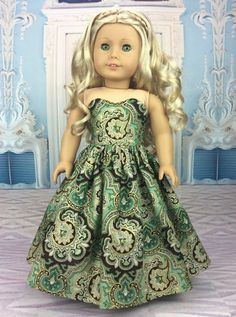 Green and gold ball gown by HoschPoschCreations on Etsy. Made using a modified version of the Blossom Dress pattern. Get it here  http://www.pixiefaire.com/products/blossom-dress-pattern-18-dolls. #pixiefaire #blossomdress
