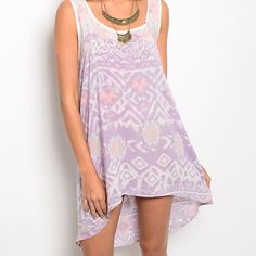 Lilac/white/pink hi lo tunic! Last chance!! Gorgeous! Combo Aztec/Leopard print semi sheer lilac and pink tunic/ so cute!!  Follow me on Instagram @kfab333 for more items Tops Tunics