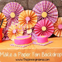Making a paper fan backdrop is an easy and frugal way to decorate at a birthday party or any party!  Click here for tutorial.  DIY Party Decor Ideas www.thepinningmama.com