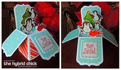 A tutorial for this project can be found at http://www.thehybridchick.com/2014/12/holiday-pop-up-box-card-tutorial/ Credits: All from Paper Garden Projects: Penguin Pals, Christmas Dreams, Snow Day Dreams, and Christmas Labels 2