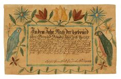 Important Rockingham Co., Shenandoah Valley of Virginia watercolor and ink on paper folk art fraktur, signed by the artist , J. G. Crop, and dated…