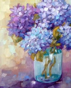 """Daily Paintworks - """"Sunday Blues"""" - Original Fine Art for Sale - © Libby Anderson Acrylic Flowers, Watercolor Flowers, Watercolor Paintings, Art Paintings, Hydrangea Painting, Fine Art Auctions, Arte Floral, Fine Art Gallery, Anime Comics"""
