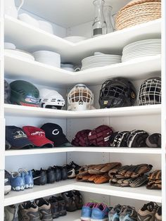 Not enough party ware to fill your oversized pantry? Consider using that extra space to organize sports gear. Gloves, shoes and caps fit neatly in this corner area of the pantry created by New Jersey based Cory Connor Designs.