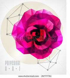 Abstract polygonal rose. Geometric hipster illustration. low poly illustration - stock vector