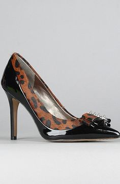 Padma heel in black patent leather and brown leopard print pony hair with bows and spikes by Sam Edelman