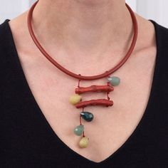 Dark Orange Leather Necklace with Jade & Coral by natartg on Etsy