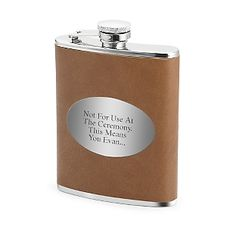 Engraved Brown and Silver Flask , Add Your Personalized Message