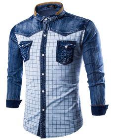 Hombres Vaqueros Camisas manga larga Denim hombres camisa moda popular  Plaid solo pecho camisa de vaquero 542de85461dcc