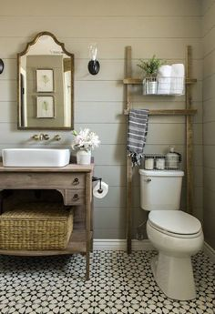 Narrower toilet tank- then maybe could do ladder shelves upstairs