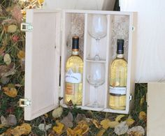 Custom wood wine box with glasses.  #weddingwinebox #woodwinebox