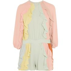 Valentino Ruffled silk-crepe playsuit ($1,320) ❤ liked on Polyvore featuring jumpsuits, rompers, multi, ruffle rompers, playsuit romper, flounce romper, colorful romper and neck ties