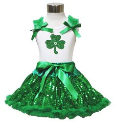 St Patricks Clover White Shirt Green Bling Sequins Pettiskirt Girl Clothing 1-8y (6-8year). a shirt, a skirt. stretchy and comfortable cotton shirt. fluffy double-tiered ruffles skirt. made by lightweight material. clover leaf set, suggest for Saint Patrick's Day.
