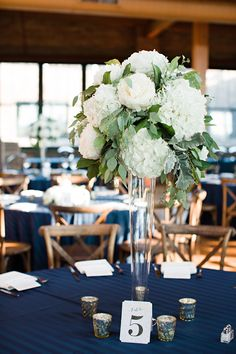 Organic Green & White Centerpiece with peonies, hydrangea and eucalyptus at the Bridgeport Art Center Wedding
