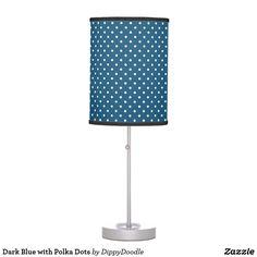 Dark Blue with Polka Dots Desk Lamp