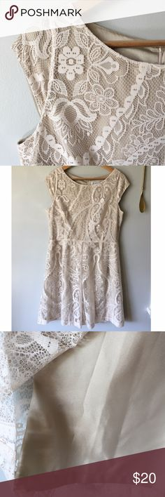 "Liz Claiborne Cream lace dress Liz Claiborne cream lace dress with champagne colored lining//Cap-sleeved//Hidden zipper on back 24"" long//Dress measures 38"" long from back neckline to hem//Bust measures 40""//Material: 100% polyester//Size: 12 Liz Claiborne Dresses Midi"