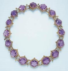 AN ANTIQUE AMETHYST NECKLACE, CIRCA Composed of a series of slightly graduated hexagonal-cut amethysts, each within an openwork gallery and trefoil prongs, to the oval-link spacers with bead detail, mounted in gold. Purple Jewelry, Purple Necklace, Amethyst Jewelry, Amethyst Necklace, Jewelery, Jewelry Necklaces, Jewelry Watches, Bracelets, Antique Jewelry