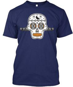 Halloween Sugar Skull Crow Spiders Navy T-Shirt Front