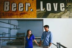 E-session ideas, couple photoshoot poses - Bea and Rob's Wild and Wacky E-session in a Brewery