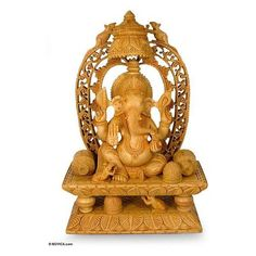 NOVICA Artisan Crafted Religious Wood Sculpture ($225) ❤ liked on Polyvore featuring home, home decor, art gallery, brown, hinduism & spirituality, sculpture, wood - buddhism, novica home decor, elephant home decor and wooden home accessories