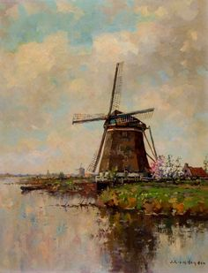 J.C. van der Heijden - Early 20th Century Oil, Windmill by the River