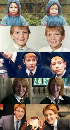 Fred and George Draco Harry Potter, Harry Potter World, Objet Harry Potter, Estilo Harry Potter, Mundo Harry Potter, Harry Potter Pictures, Harry Potter Characters, Harry And Hermione Kiss, Oliver Phelps