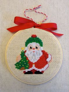 cross stitched christmas ornament on a 4 inch embroidery hoop - SANTA