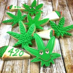 You will receive one dozen 420 cookies approximately 3 by 2 in. The marijuana leaf cookies will have different designs (shown in the pictures). The cookies do not contain actual marijuana or THC. 8 * marijuana leaf cookies joint cookies These made fro Leaf Cookies, Fancy Cookies, Flower Cookies, Almond Cookies, Cut Out Cookies, Cute Cookies, Royal Icing Cookies, Sugar Cookies, Baking Cookies