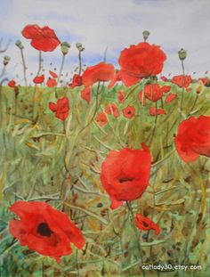 Poppy field watercolor print. Poppies painting. Poppy wall art. Poppy picture. Floral watercolor. Watercolor poppies. Poppy painting.