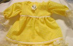 "Yellow Gingham 1/8"" Check Dress set Fits 12-14"" Berenguer,  incl La Newborn  #KindredHeartsDesigns"