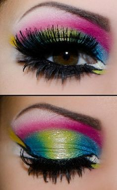 12 fantastic neon make-up looks - Eye Makeup 80s Eye Makeup, Colorful Eye Makeup, Colorful Eyeshadow, Makeup Art, Beauty Makeup, 1980s Makeup, Rave Makeup, Witch Makeup, Clown Makeup