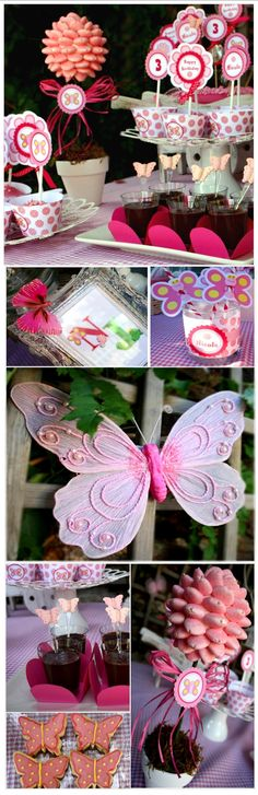 Jahzz ☯ |  .. #Kids #Party #Butterfly theme (cupcakes, biscuits, sweets, smart decoration ideas)