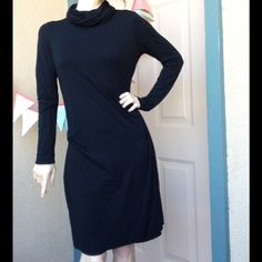 PRICE REDUCED - Stretchy Black Turtle Neck Dress Excellent condition. No stains, fading or holes. Smoke free home. Model is a size small so take into consideration. Thank you. Nicole Miller Dresses Long Sleeve