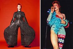 Two looks created for David Bowie by the fashion designer Kansai Yamamoto in the 1970s. Concert photo courtesy Bill Orchard/Rex Features.