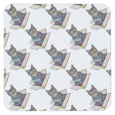 Cat In A Box Square Paper Coaster - fancy gifts cool gift ideas unique special diy customize