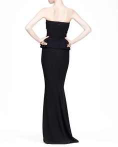 Alexander McQueen Strapless Gown with Beaded Peplum, Black - Neiman Marcus
